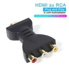 Audio Adapter HDMI Klinke Stecker auf 3 Cinch Chinch Buchse Konverter TV Laptop