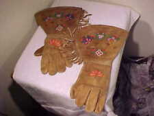 Vintage Sioux Indian Gauntlet Beaded Gloves Native American