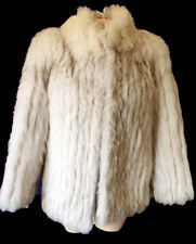 SAGA FOX jacket coat FUR leather S Small silver white after ski real snow bunny