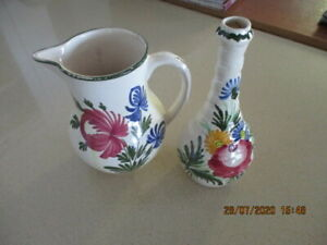 Vintage/Antique  Signed French  Hand Painted Faience 17cm Jug & 21cm Vase