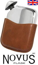 New 'Novus' Hand Made Sheffield Pewter Flask in Leather Sleeve, Free Engraving