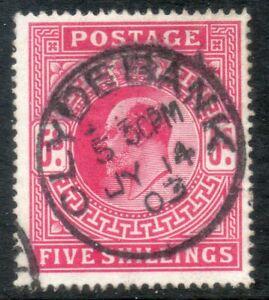 GB 1902 Edward VII SG264 M51 (2) 5/- Deep Bright Carmine Clydebank cds Cat £200
