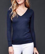 Gap Woman Basic dark Blue Modern V-neck fine Long Sleeve tee T-shirt