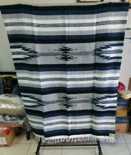 "SOUTHWEST BLANKET , SANTA FE STYLE , 79"" x 42"" TWIN, 1ST QUALITY ,BLUE AND WHITE"