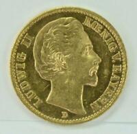 Goldmünze Kaiserreich 20 Mark Ludwig II. König von Bayern 1873 D J-194 top