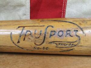 """Vintage 1930s TruSport Wood Baseball Bat No.60 Edw.K.Tryon 35"""" DiMaggio Phila,PA"""