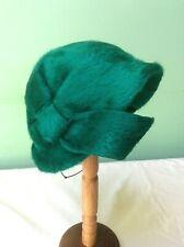 50s Vintage Hat. Emerald Green Plush Wool.hat. Goodwood
