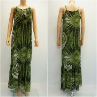 ECI Womens Dress Ruffle Printed Overlay Maxi Long Dress Green Tie Dye $70