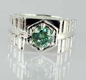 925 Sterling Silver Green Diamond Solitaire 2.35 Ct Men's Ring-Free Shipping