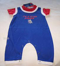 Western Bulldogs AFL Boys Blue Printed Romper Grow Suit Size 0 / 1 New