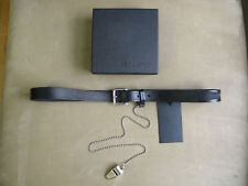 DSQUARED² BLACK LEATHER SIGNATURE THIN BELT WITH SILVER CHAIN WHISTLE S M COOL