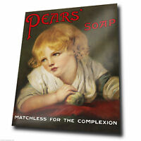 METAL SIGN WALL PLAQUE  Vintage PEARS SOAP advert poster kitsch print bathroom