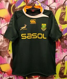 South Africa National Rugby Union Team Shirt Jersey Top Canterbury Mens Size L