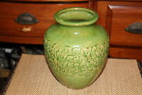 Antique Pottery Vase Green Color Tree Leaves Unmarked Pottery Raised Flowers