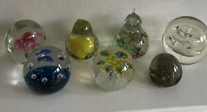 Job Lot of Glass Paperweights x 7 Assorted Colours, Shapes, Designs