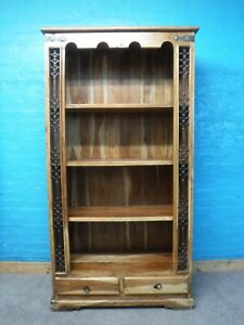 LARGE INDIAN SHEESHAM WOOD 2DRAWER DISPLAY CABINET BOOKCASE H192 W102cm SEE SHOP