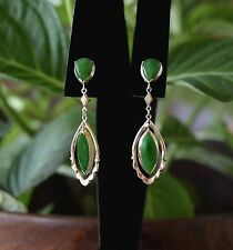 Old Mine CHINESE Imperial Grass Green JADEITE Cabochon 14k DANGLE Earrings Screw