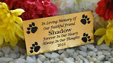 PERSONALISED ENGRAVED PET MEMORIAL PLAQUE PAWPRINT CORNERS GOLD 10X5CM (A02)OUR