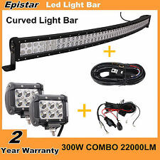 """53"""" 300W Curved LED Light Bar Combo+ 2X Wiring+ 2X 4"""" 18W CREE Offroad SUV Ford"""