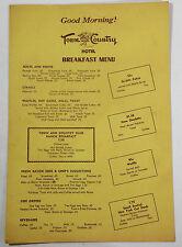 1950's Original Breakfast Menu Town And Country Hotel San Diego California