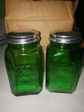 green Glass Salt & Pepper Shakers Set Art Deco Arch Retro Depression Range clear