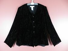 TB03367- JONES NEW YORK Woman Rayon 20% Silk Velvet Blouse Black Geo Plus Sz 16