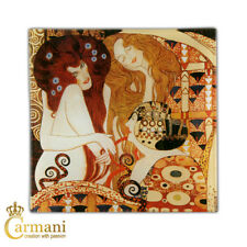 Square Glass Plate with Gustav Klimt 'Beethoven Frieze' painting 13x13cm
