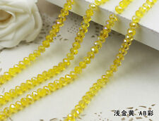 DIY 100 (±3) Pcs 4 X 6 Mm Yellow Colors Crystal Faceted Abacus Loose Beads