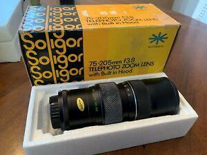 Vintage Soligor 75-205mm f3.5 telephoto zoom lens w/ box for Nikon