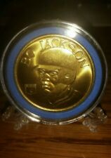 1992 BANDAI BO JACKSON 40MM BRASS COIN WITH HOLDER & STAND! NM/MINT CONDITION!