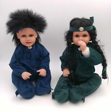 Pair of Native American Dolls - Porcelain Head and Hands - Soft weighted bodies