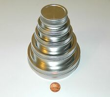 1/2, 1, 2, 4, 8 oz Round Shallow Tin Can Containers & Screw Top Lids - Craft Use