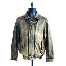 07a55cb398a Eddie Bauer Brown Distressed Leather Bomber Jacket Mens Size Large