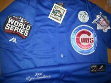 NEW Blue Majestic Ryne Sandberg #23 Chicago Cubs THREE patch sewn Jersey XL MEN
