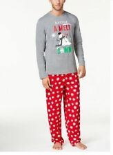 Family Pajamas Men's Snowflake Meltdown Pajama Set, Gray/Red, M