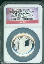 2014-P $1 Australia KOOKABURRA HIGH RELIEF 1 Oz. PROOF Silver Coin NGC PF69 PR69