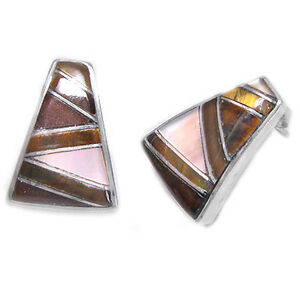 Offerings Sajen SS Tiger Eye, Taupe Mother of Pearl & Jasper Inlay Earrings