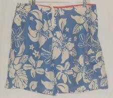 SPEEDO Men's Blue White Floral Polyester Swim Trunks Shorts Size Large