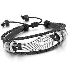 Damen Herren Legierung Leder Armband Geflochten Engel Flügel Feder Einstellbar