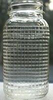 Rare Vintage Gridded Waffle Design Knox Glass Co. Quart Mason Jar