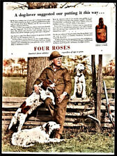 1937 English Setter Hunter Shotgun Four Roses Ad