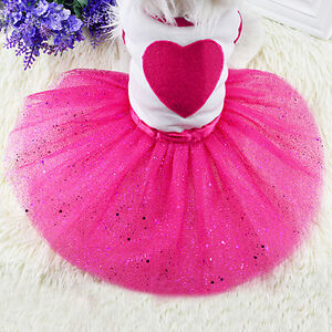 Pet Dog Love Heart Sequins Gauze Tutus Dress Skirt Puppy  Rose Clothes
