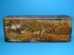 NICE VINTAGE LARGE TIN BOX/CHEST WITH TOP COLORFUL WATERLOO BATTLE SCENES!!!