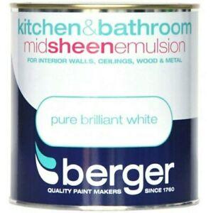 Berger Kitchen & Bathroom MID SHEEN Emulsion Pure Brilliant White - 1ltr