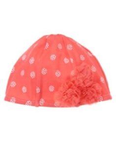 GYMBOREE SPRING PEACH CORAL TULLE FLOWER SWIM CAP HAT 0 3 6 12 18 24 NWT