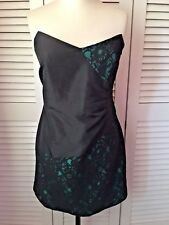 DOROTHY PERKINS Stunning BNWT Black Green Boned Fitted Party Dress Sz 18 rrp £45