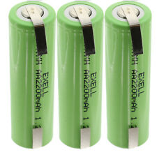 3x Exell 1.2V AA Size 2200mAh NiMH Rechargeable Batteries  w/ Tabs USA SHIP