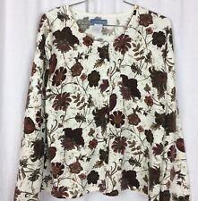 CLASSIC ELEMENTS Cardigan Sweater Ivory Brown Floral Size XL Acrylic