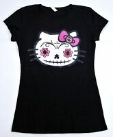 HELLO KITTY Zombie Sugar Skull Tee Juniors T-shirt Day Of The Dead S,M,L,XL New