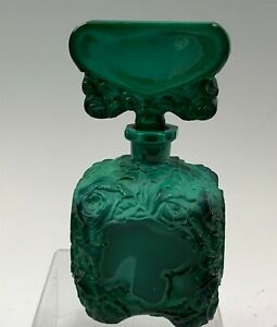 Textured Malachite Green Scent Bottle With Deeply Carved Roses & Polished Sides